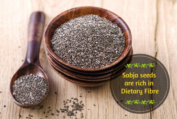 DietaryFibre in Sabja Seeds help in weight loss